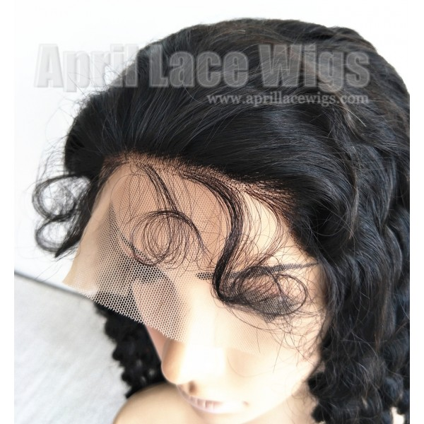 Indian Remy Curly Human Hair Glueless Lace Front Wig