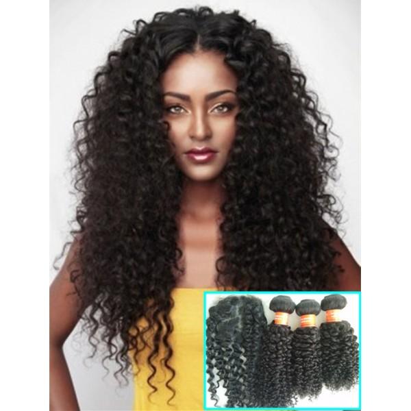 Brazilian Virgin Human Hair 3 Wefts And 1 Silk Top Closure