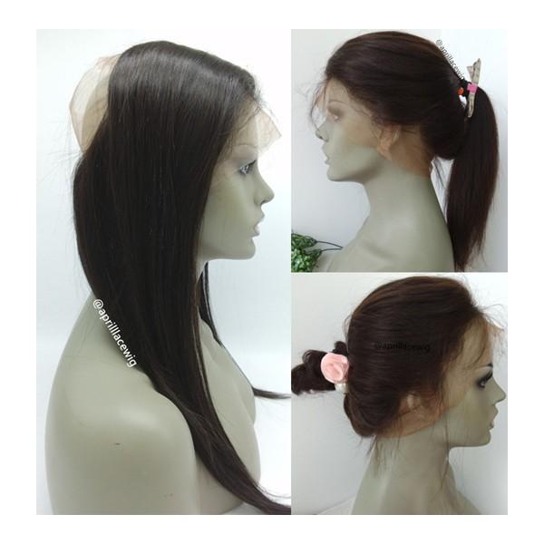Straight 360 frontal Brazilian virgin human hair bleached knots --RF03 700dea8bd