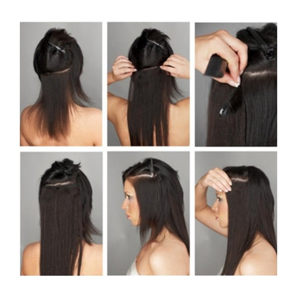 Italian Yaki Human Hair Clips In Hair Extensions Ce04