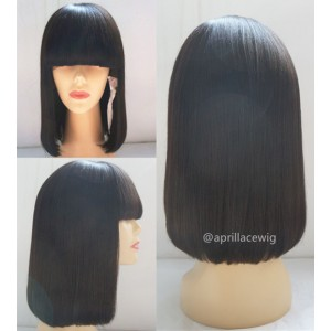Indian Remy Blunt Cut Bob Hair With Bangs Full Lace Wig