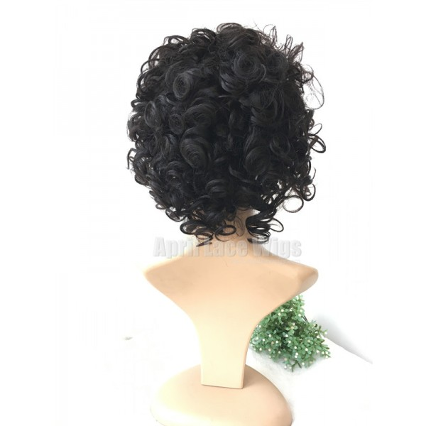 Short curly hair for summer no lace machine made human hair wig