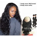 Brazilian virgin bdoy wave 360 lace frontal and 2 bundles --WRF022