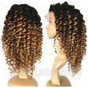 Virgin hair Three ombre colors spiral curly full lace wig on sale --CR002
