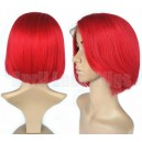 Brazilian virgin 180% density red color bob hair full lace wig with silk top --ALW004