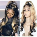 Virgin hair two tone Beyonce wave glueless full lace wig with 2x4 silk top wig on sale 13198-2 5-1