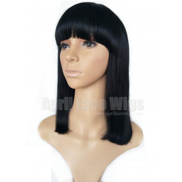 Blunt Cut Weave Cap: Remy Hair Blunt Cut Bob No Lace Machine Made Wig With A