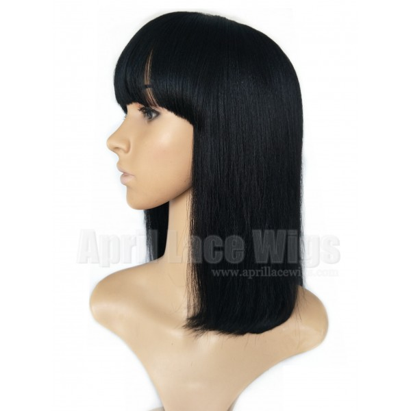 Remy Hair Blunt Cut Bob No Lace Machine Made Wig With A Bang Bb010