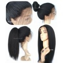 8A Virgin hair italian yaki 360 glueless wig with preplucked hairline mimic African American kinky hair --SP006