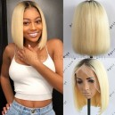 Virgin blonde lace front wig bob hair with dark roots 130% density preplucked hairline BB015