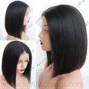 Coarse kinky straight 13x6 lace front wig bob cut preplucked hairline BB020