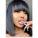 Brazilian virgin silk straight with bangs glueless 13*4.5 lace front wig