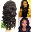 Indian Remy Wavy Curl Glueless full lace silk top human hair full lace wig-BW8003
