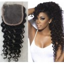 Brazilian virgin deep wave natural color human hair lace closure-LC03
