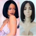 Indian remy blunt cut bob wig with middle parting for summer-BB003