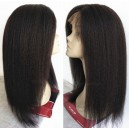 Virgin hair natural color Italian yaki/Kinky straight full lace wig-bw0039