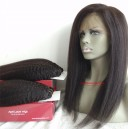 Italian yaki human hair 360 frontal and 2 bundles wefts --WRF042