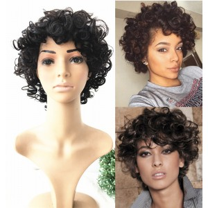 Short curly hair for summer no lace machine