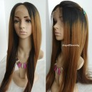 Virgin hair three-tones ombre color silk top human hair wig with baby hair --ALW001