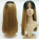 Ombre color honey brown blunt cut human hair full lace wig ---ALW002