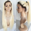 Dark roots fade into color 613 ombre color straight full lace wig BW0063