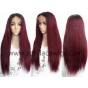 Malaysian virgin straight Ombre Burgundy full lace human hair wig --ALW003