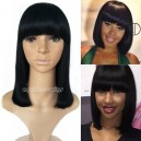 Remy hair blunt cut bob no lace machine made wig with a bang --BB010