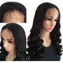Brazilian virgin human hair loose ocean wave 150% density full lace wig with preplucked hairline ALW005