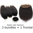 Italian yaki human hair 3 wefts and 1 lace frontal--IYF0301