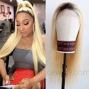 Best virgin human hair color 613 with dark roots 360 lace wig preplucked hairline  --BW0163