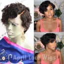 Virgin curly pixie cut 150% density 6'' lace front wig preplucked hairline BB016