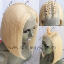 Color 613 blonde glueless lace front wig bob cut preplucked hairline BB014