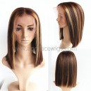 Highlight Brown Coarse kinky straight 13x6 lace front wig bob cut BB122