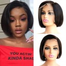 8 inches 150% density virgin asymmetry short bob straight 13x6 Lace Front Wig LFB12