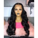 Stock 180% density HD lace front glueless wig 10A grade virgin hair 6 inches deep parting preplucked hairline HDW24