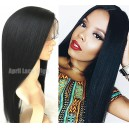Indian Remy Yaki straight full lace silk top wig-LW8002