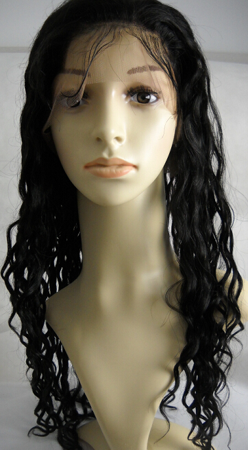 Beach wave Virgin hair silk top Full lace wig