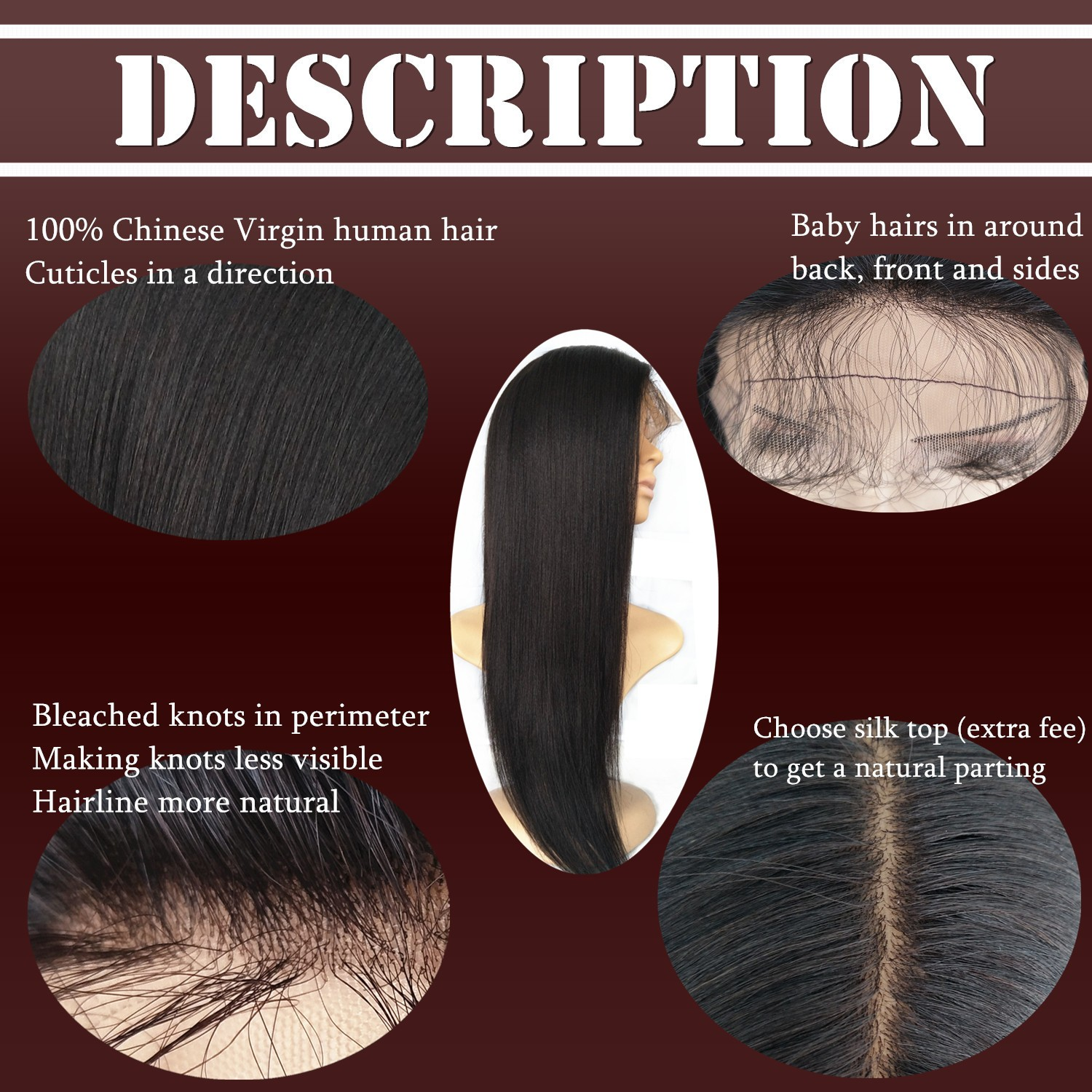 Chinese virgin Light yaki full lace wigs silk top bleached knots-