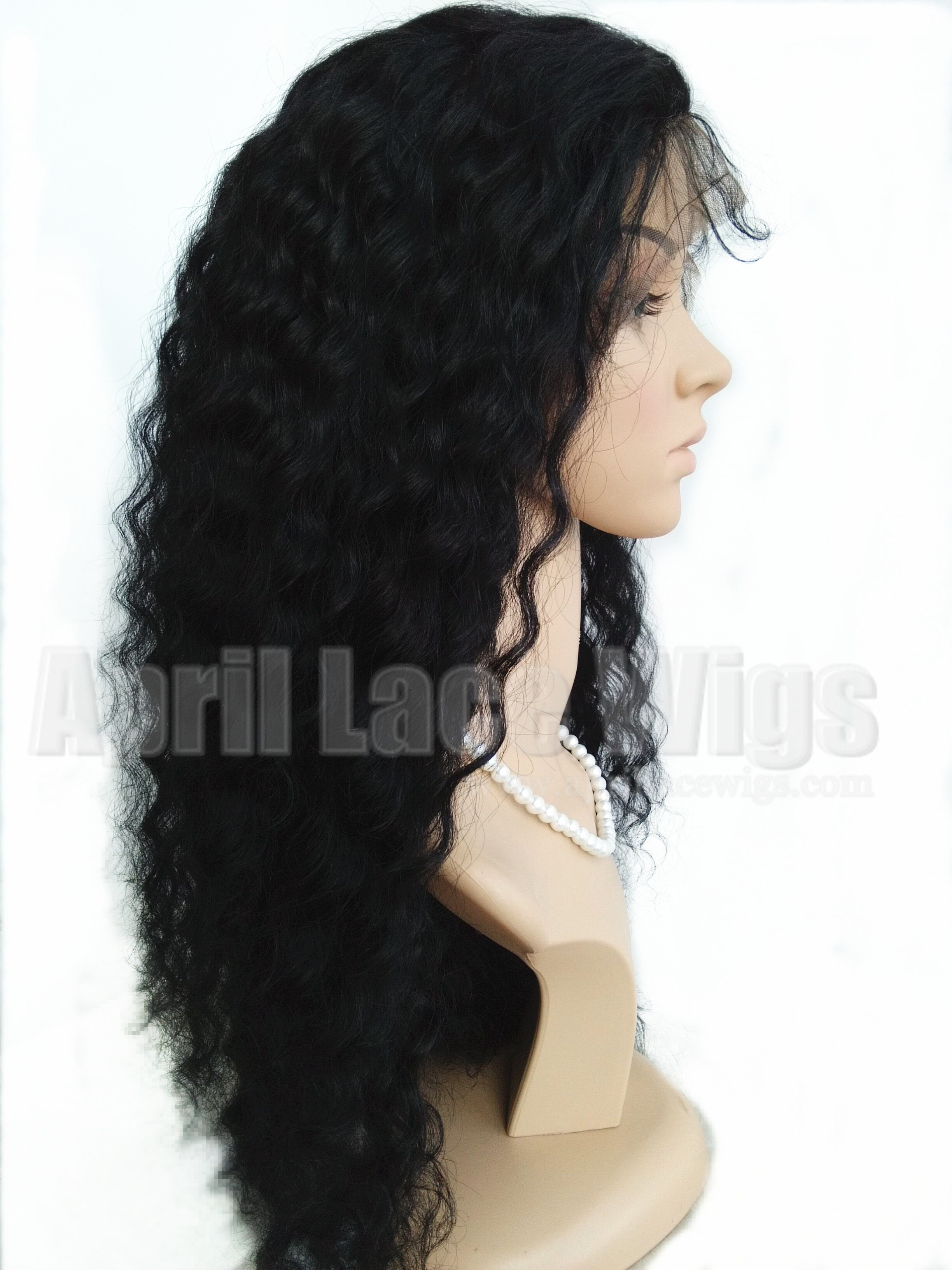 Deep wave virgin full lace wig