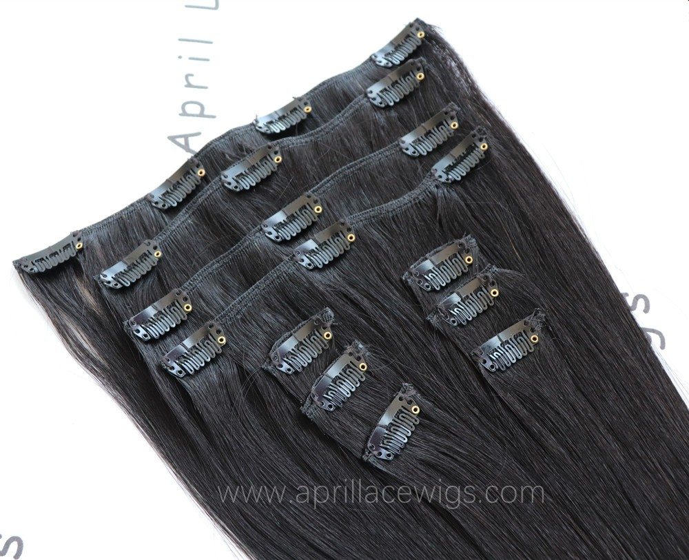 Silk straight human hair clips in hair extensions