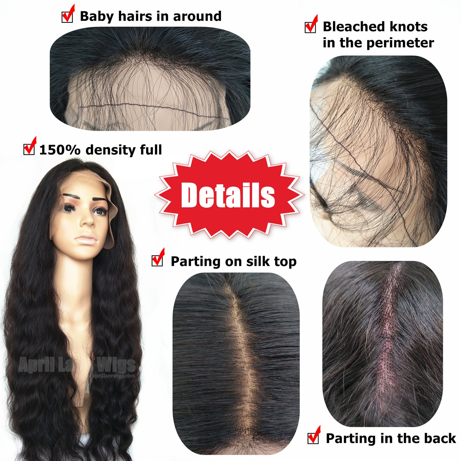 Malaysia Virgin Human Hair 150 Density Silk Top Glueless Full Lace Wig