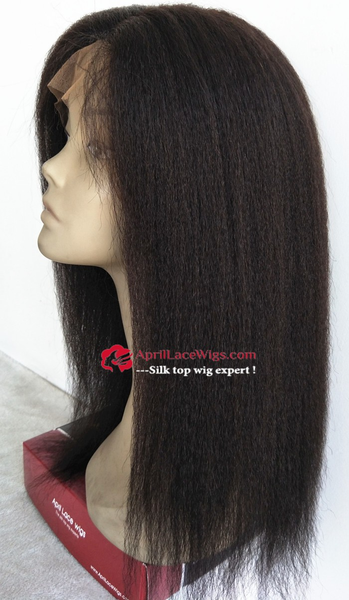 italian yaki lace front wig, lace front silk top wig, mimic African American hair