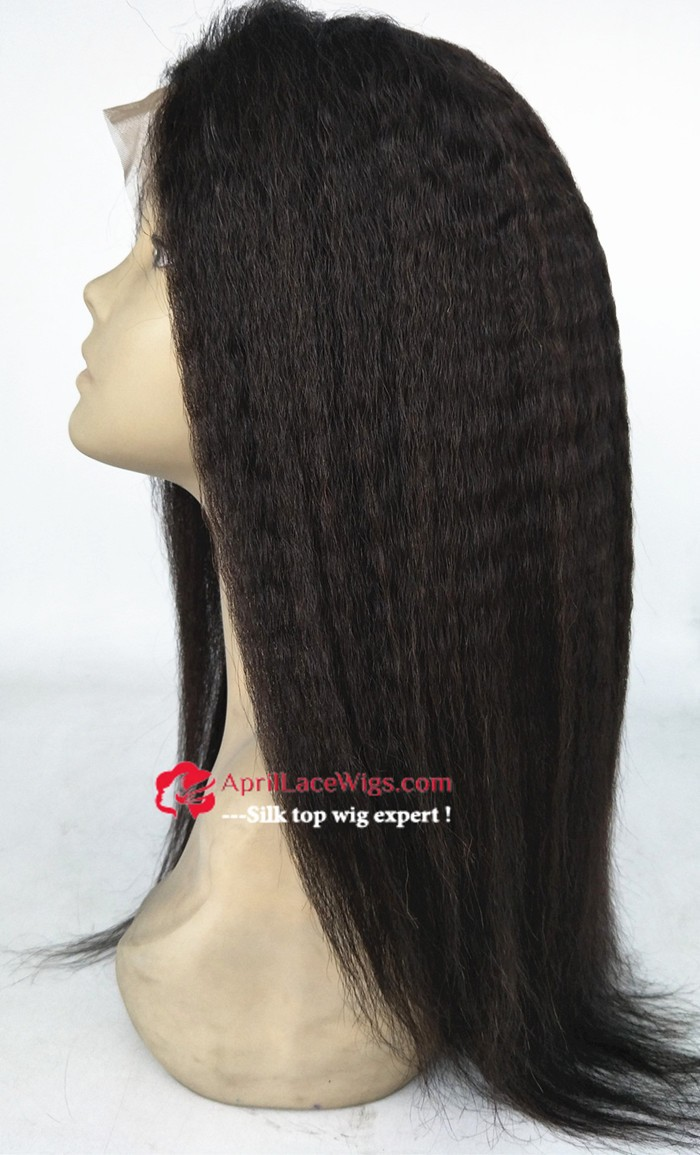 kinky straight lace front wig, silk top lace front wig, mimic african american hair