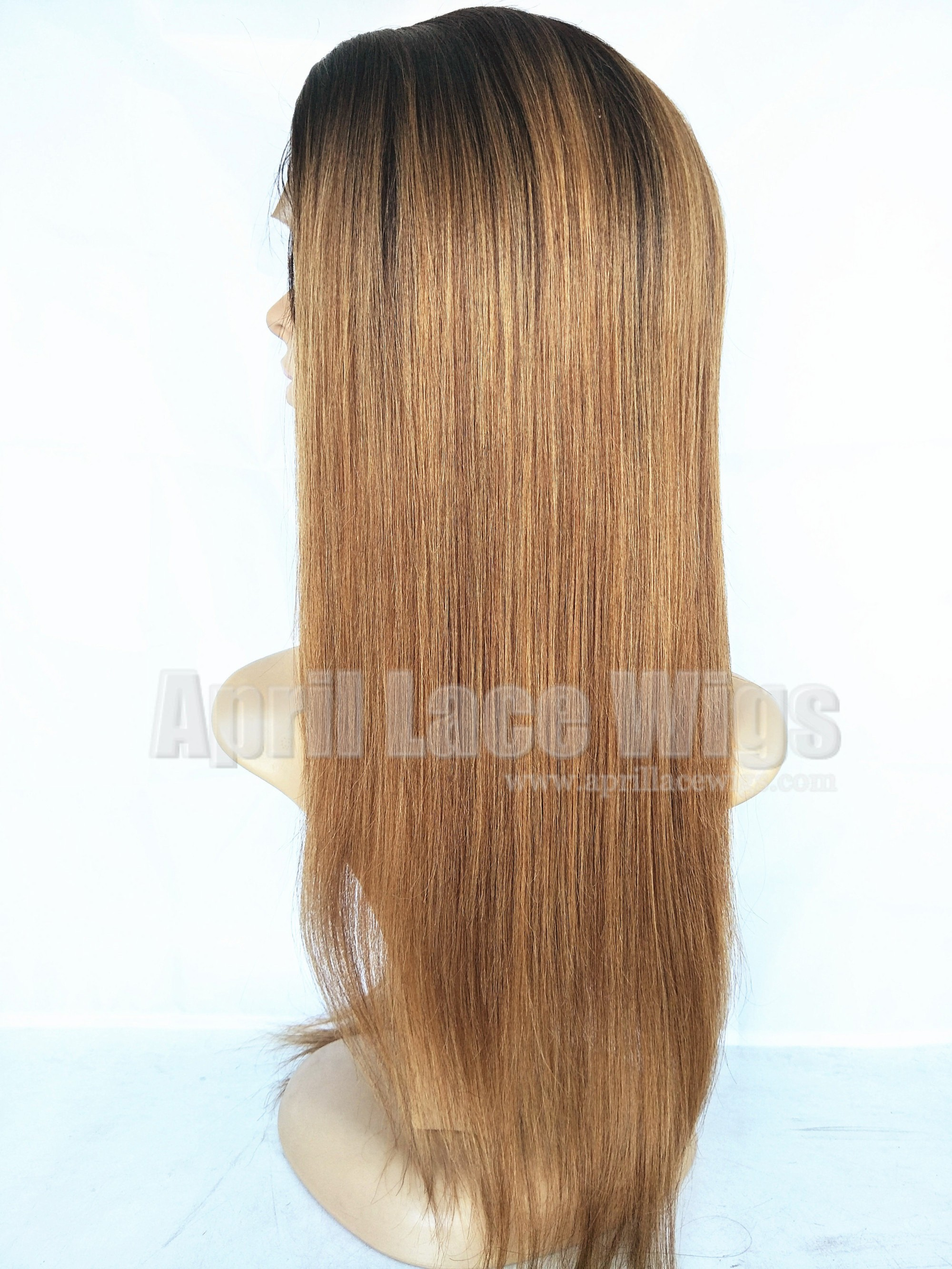 Light yaki ombre color full lace wigs silk top bleached knots