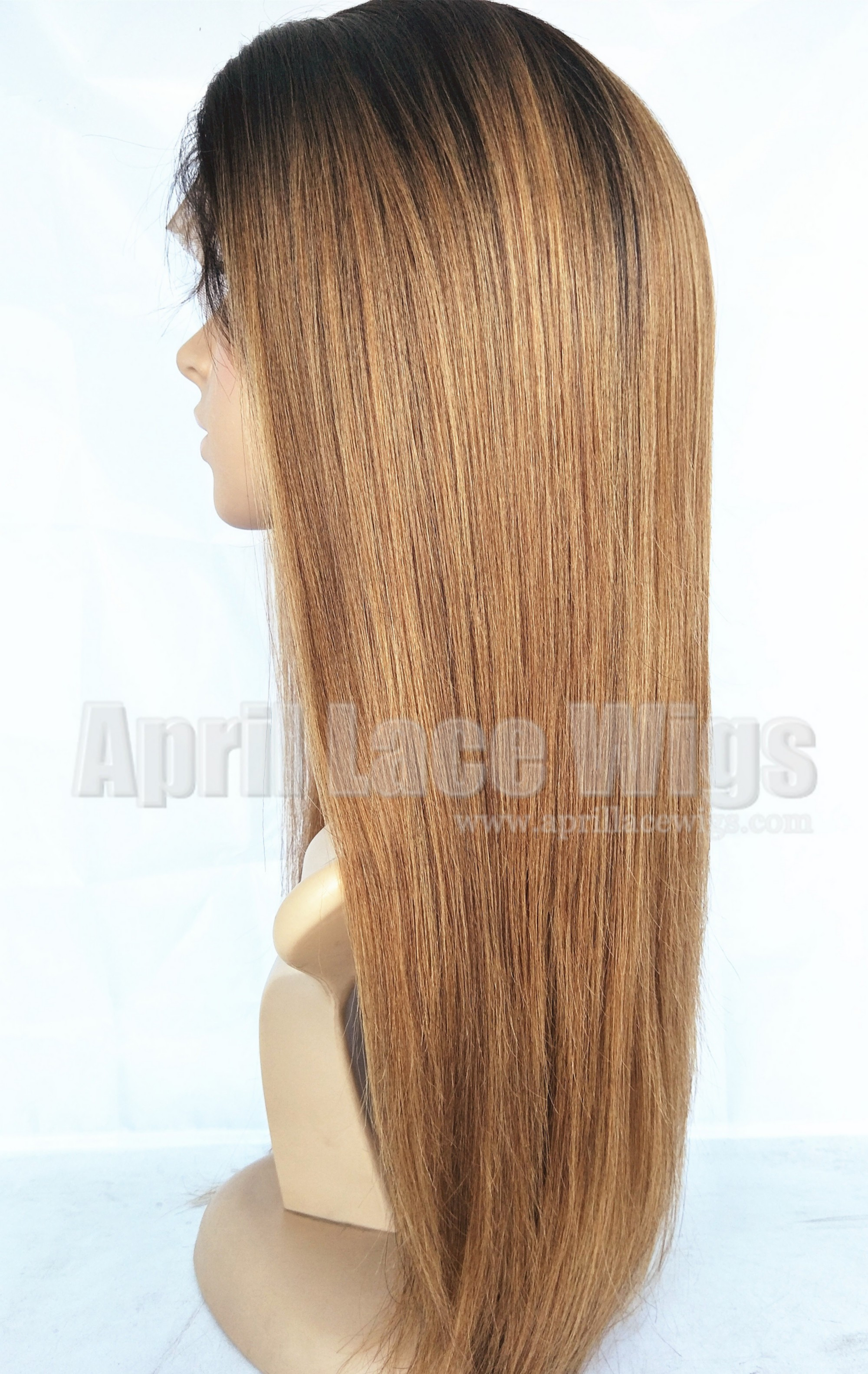 Chinese virgin Light yaki ombre brown full lace wigs silk top bleached knots