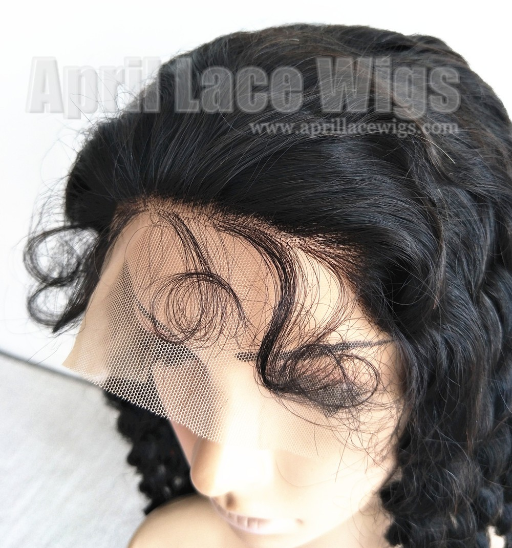 curly human hair lace front wig