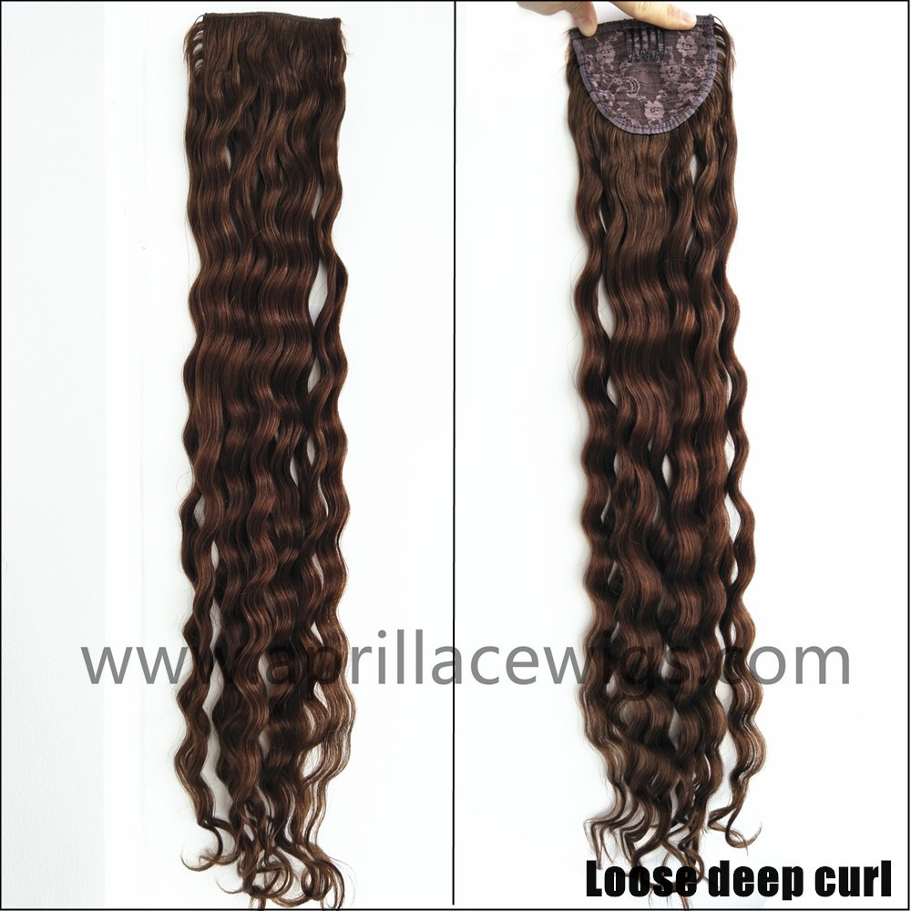 loose deep wave ponytail, wrap ponytail