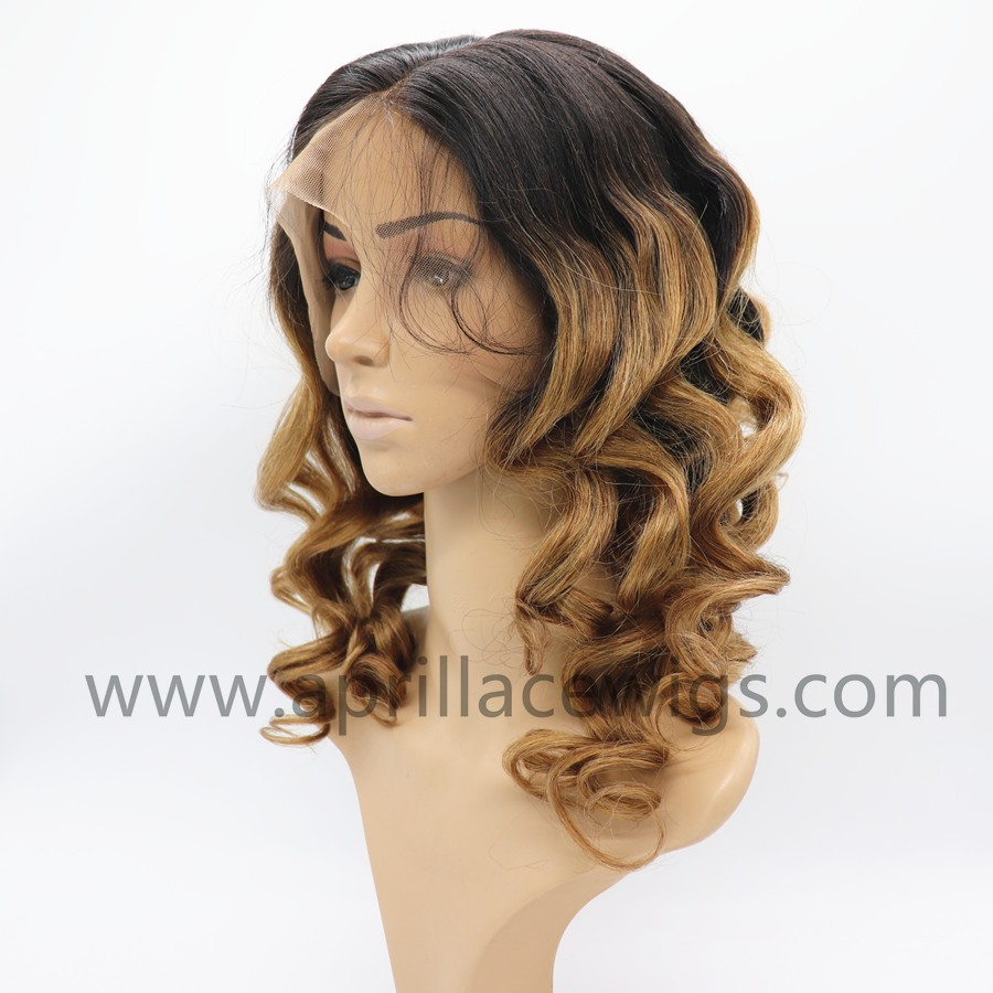 Ombre color Chinese Virgin yaki body wave Silk top Full lace wig