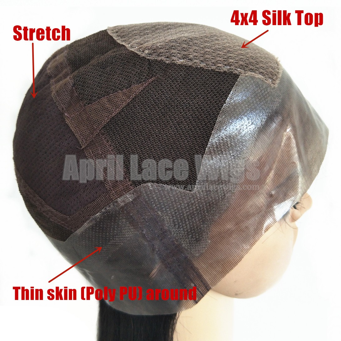 Thin skin Poly PU silk top full lace wig