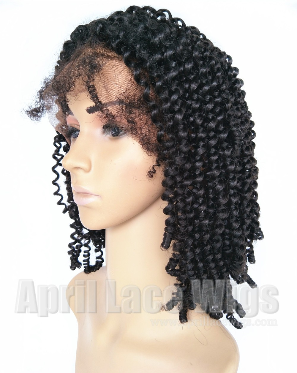 virgin hair kinky curly full lace wig, silk top wig